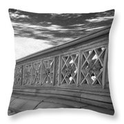 Steps Of Central Park In Black And White Throw Pillow