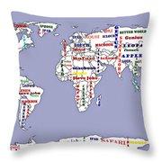 Steve Jobs Apple World Map Digital Art Throw Pillow