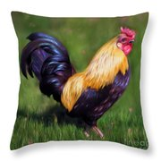 Stewart The Bantam Rooster Throw Pillow