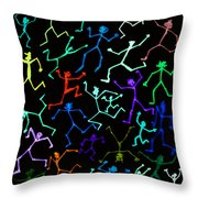 Stickmen Characters Aglow With Color Throw Pillow