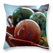 Still Life Crosses Reflected In Bowl Of Glass Marbles Art Prints Throw Pillow