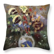 Still Life Of A Vase Of Flowers Throw Pillow