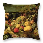 Still Life Of Fruits And Vegetables Throw Pillow