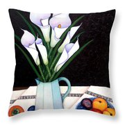Still Life With Callas Throw Pillow