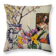 Still Life With Flowers In A Vase   Throw Pillow