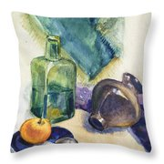 Still Life With Green Bottle Throw Pillow