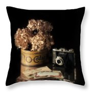 Still Life With Hydrangea And Camera Throw Pillow
