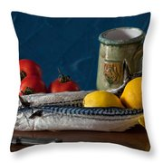 Still Life With Mackerels Lemons And Tomatoes Throw Pillow
