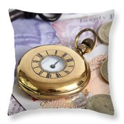 Still Life With Pocket Watch, Key Throw Pillow by Photo Researchers