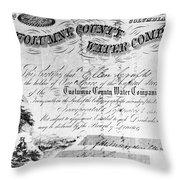 Stock Certificate, 1853 Throw Pillow