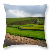 Stone Barn In A Fold Of The Landscape Throw Pillow