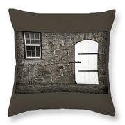 Stone Barn Window Cathedral Door Throw Pillow