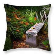 Stone Bench Throw Pillow by Carlos Caetano