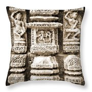Stone Carvings In An Indain Temple Throw Pillow