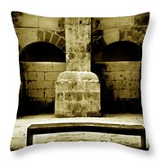 Stone Face - Limestone Windows Column And Bank Create A Misterious Face Throw Pillow