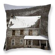 Stone Farmhouse In Snow Throw Pillow by John Stephens