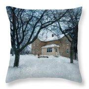 Stone Farmhouse In Winter Throw Pillow