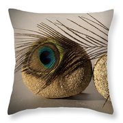 stone fish - A a peacock feather and four pebbles become a sea creature in artist mind Throw Pillow