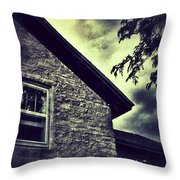 Stone House In Storm Throw Pillow