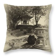 Stone Lantern And Temple Bell Throw Pillow