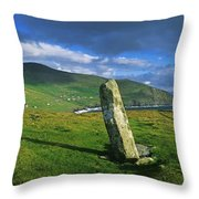 Stone On A Landscape, Ogham Stone Throw Pillow