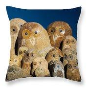 Stone Owls Throw Pillow