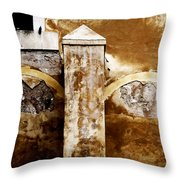 Stone Sight - Two Arches And A Column Draws A Disturbing Almost Human Face Throw Pillow
