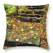 Stone Stairway In Forest, Cape Breton Throw Pillow
