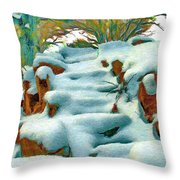 Stone Steps In Winter Throw Pillow
