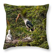 Storks Around A Nest Throw Pillow