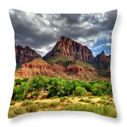 Storm Brewing In Desert Throw Pillow