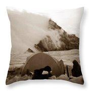 Storm Camp Throw Pillow