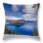 Storm Clearing At Crater Lake Throw Pillow