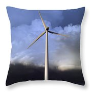 Storm Clouds And Wind Turbine Throw Pillow