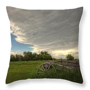 Storm Clouds Gather Over An Abandoned Throw Pillow