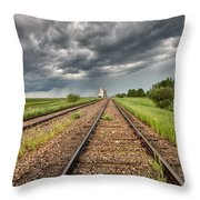 Storm Clouds Over Grain Elevator Throw Pillow