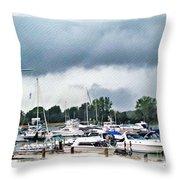 Storm Over Lake Erie Throw Pillow