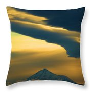 Storm Over Shasta Throw Pillow