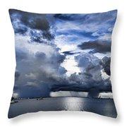 Storm Over The Ocean Throw Pillow