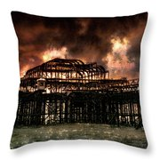 Storm Over The West Pier Throw Pillow
