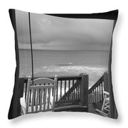 Storm-rocked Beach Chairs Throw Pillow