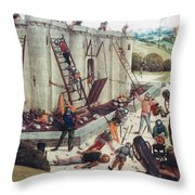 Storming Of Castle Throw Pillow by Granger