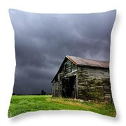 Stormy Barn Throw Pillow