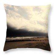 Stormy Beach At The Coast Of South Carolina Throw Pillow