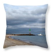 Stormy Evening Bass River Jetty Cape Cod Throw Pillow by Michelle Wiarda