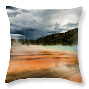 Stormy Grand Prismatic Spring Throw Pillow