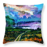 Stormy Road Throw Pillow