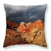 Stormy Skies Over Valley Of Fire Throw Pillow