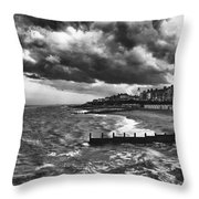 Stormy Southwold Throw Pillow