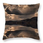 Strange Clouds Reflected Throw Pillow